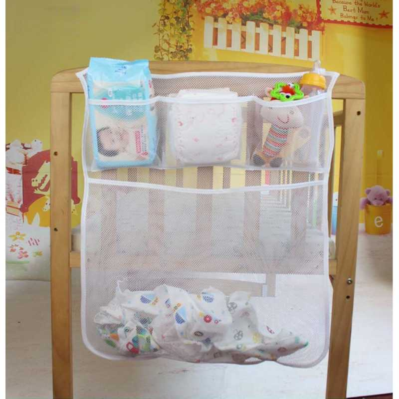 Детская кровать висит сумка для хранения кроватки органайзер для игрушек пеленки карман для постельное для колыбели