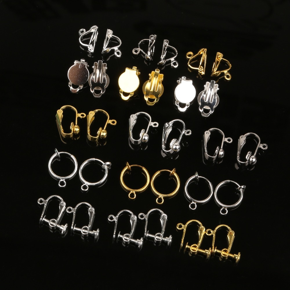 4-20Pcs Ear Clip Gold Silver Rhodium Plated Earring Converter With Loop Plastic Earring Pads Earrings Jewelry Findings Component