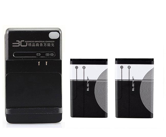 2x1020 mah BL-5C Akku mit Ladegerät für Nokia 1100 1101 1110 1110i 1112 1200 Kostenloser Versand großhandel