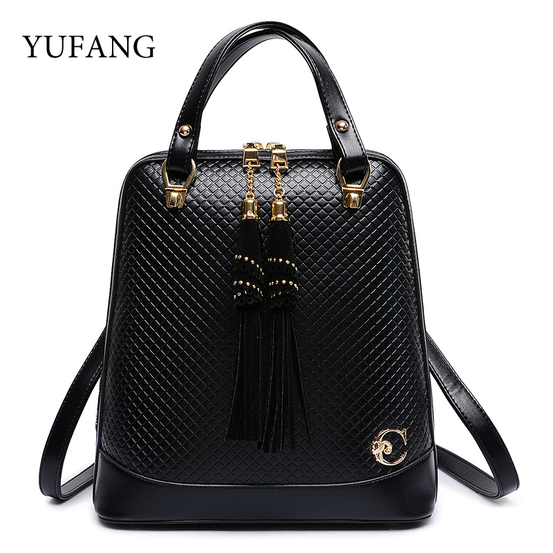 YUFANG Brand High Quality PU Leather Backpacks For Teenage Casual Girl Women Backpack With Tassel Bags