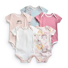 MYUDI 5pcs Baby Girls Bodysuits Cotton Newborn Cartoon