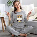 New Autumn High Quality Sweet Owl Print Cotton Women's Pajama Set,Sleepwear, full Sleeve pajamas for women Lounge A9008