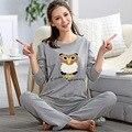 Nuevo Otoño de la Alta Calidad Dulce Del Búho de Impresión de Algodón de Las Mujeres Conjunto de Pijama, ropa de Dormir, pijama de Manga completa para las mujeres Salón A9008