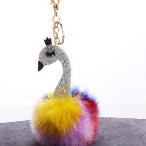 Śliczne kolorowe puszysty pompom Flamingo brelok kobiet Faux królik futrzana kulka klucz pompon łańcuch do torby samochodu Pom Pom Rey uchwyt pierścieniowy