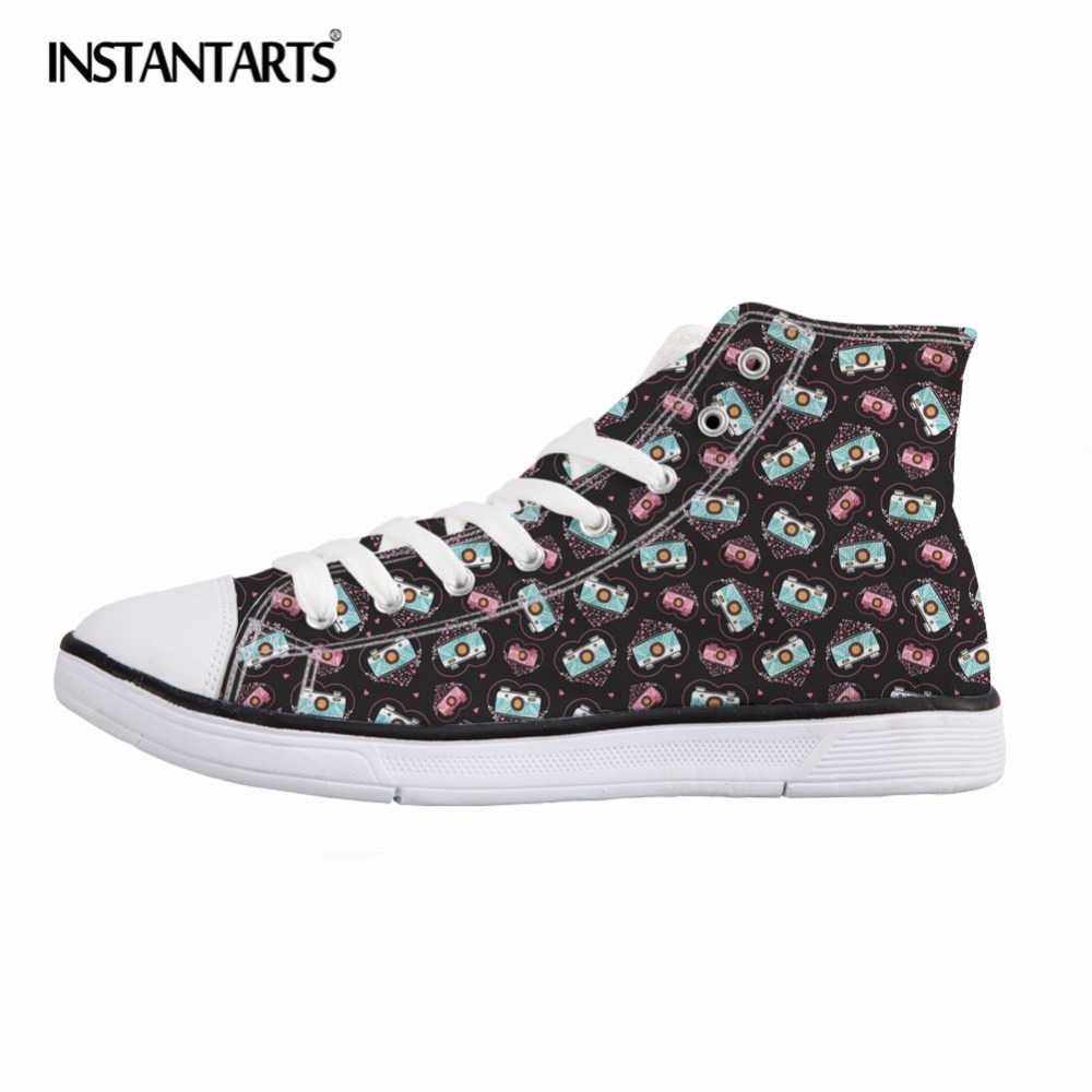 INSTANTARTS Vintage Camera Print Women Vulcanize Shoes Fashion Breathable Canvas Shoes Flats Female Classic Sneakers for Girls