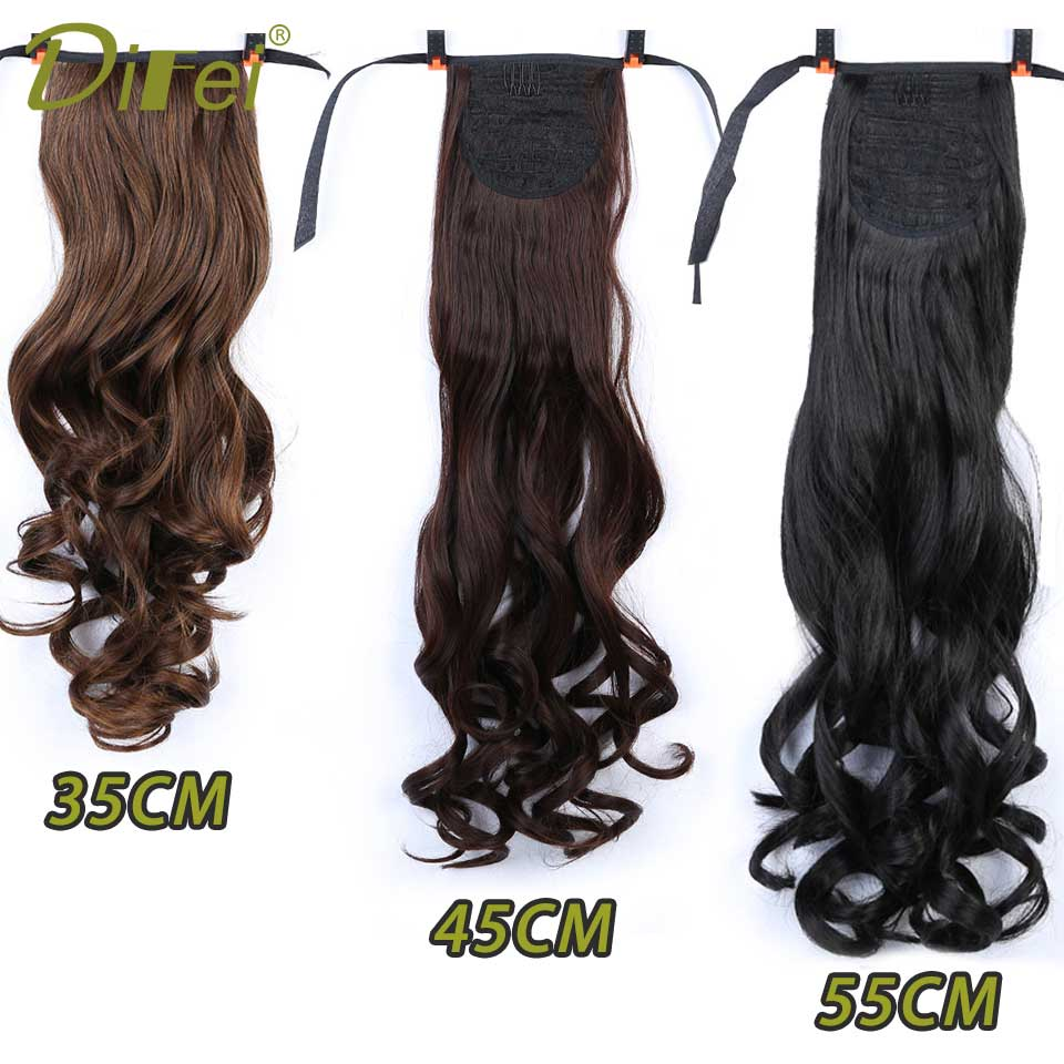 DIFEI Long Wavy Ponytail Heat Resistant Natural Clip In Pony Tail Hair Extensions Wrap On Hair Hair Ponytails Hair Piece