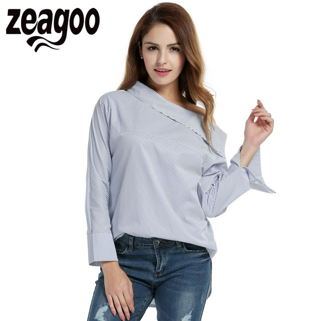 Zeagoo Blue Striped Blouse One Shoulder Long Sleeve Casual Loose Blouse Tops Autumn Sexy Oblique Collar Side Buttons Shirt