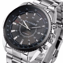 Winner Men s Mechanical Automatic Watch Stainless Steel Strap Supersize Case Date Calendar Business NEW Noble