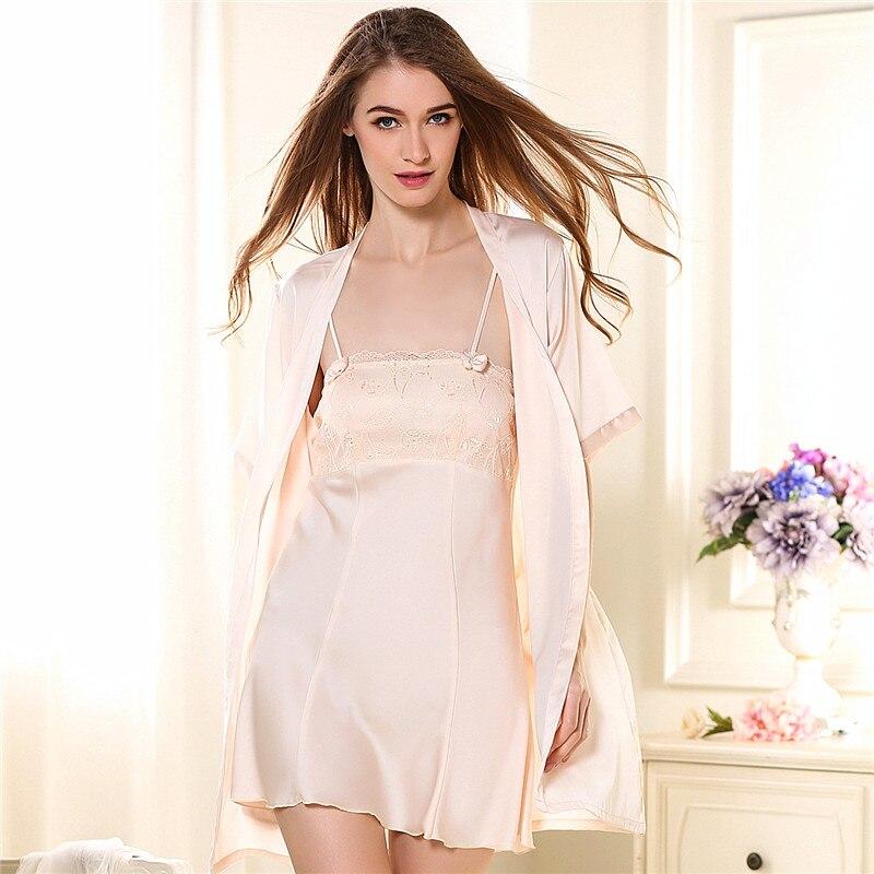 Female Pajamas Summer Night Clothes Woman Summer Sling Sexy Short Sleeve Robe Ice Silk Korean Home Furnishing Suit Thin Homewear