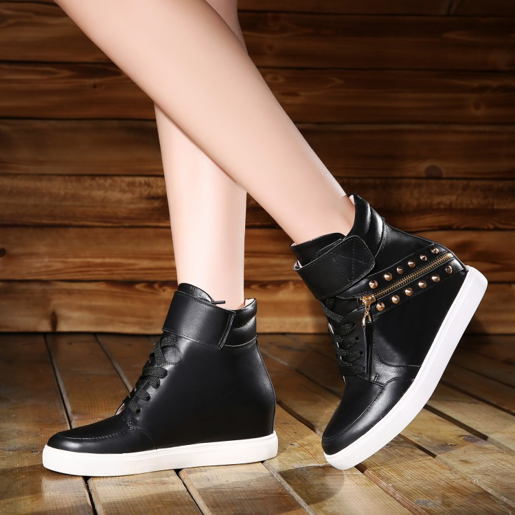 Genuine Leather Height Increase Elevator Lace Up Round Toe Zipper Spring Autumn Women Fashion Ankle Boots Size 34-39 SXQ0812 ladies casual lace up flat ankle boots fashion round toe plain cow leather boots for women female genuine leather autumn boots