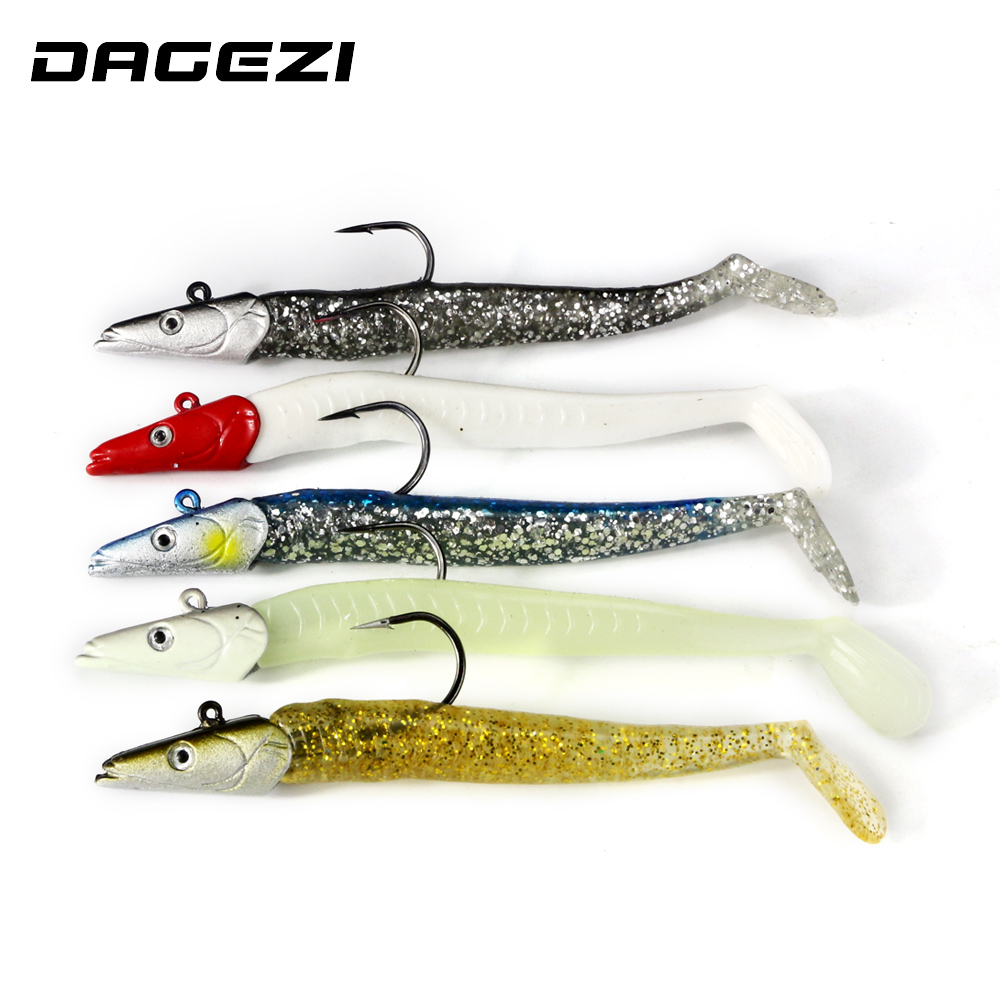 DAGEZI 5pcs/lot lead Jig Head Soft Lure 11cm/21g Luminous Soft bait with hook Swimbaits fishing Tackle Sharp Hook Pesca