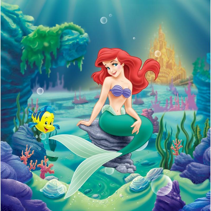 Pequena Sereia Ariel Princesa Castelo Corais E Mar Cama Foto Pano