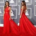 Sexy Red Backless Long Train A - linha famosa estrela Grammy Awards celebridades barato vestidos no tapete vermelho