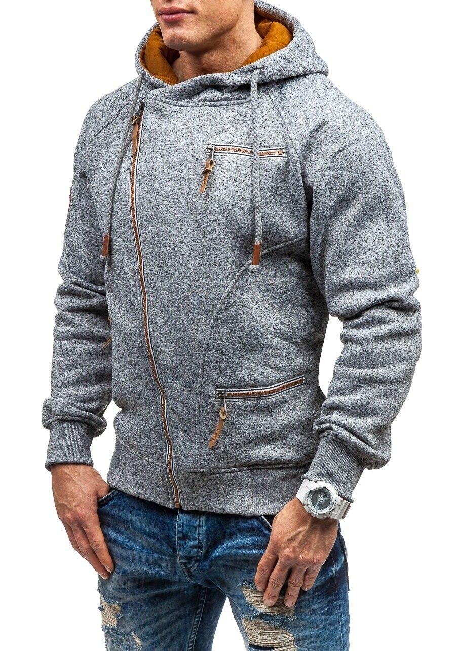 Autumn Winter Coat Oblique zipper Hoodies mens coats and jackets sportwear fitness Tracksuit fleece Jacket male Hoody Sweatshirt 1