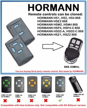 HORMANN HSM2 HSM4 HS1 HS2 HS4 HSE2  HSP4 HSP4-C HSD2-A HSD2-C HSZ1 HSZ2 Remote Control Duplicator 868.35MHz (blue buttons only)