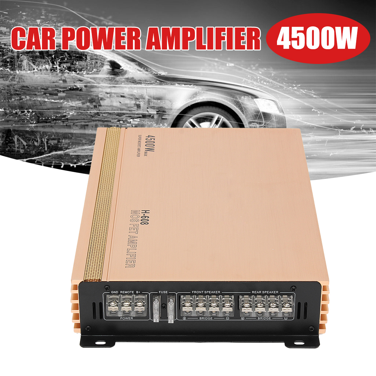 4500W 4 Channel Car Audio Amplifier 12V Auto Car Truck Motorcycle Audio Power Stereo Hi-Fi Amplifiers Amp Speaker Subwoofers auto audio