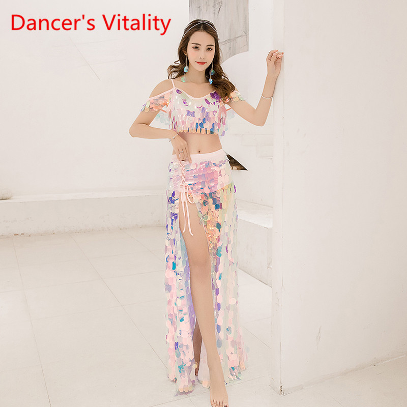 Bling Bling Suit Women Oriental Dance Clothes Sexy Big Sequins Bra Long Skirt 2pcs For Gilrs
