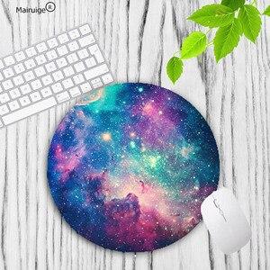 Image 5 - Mairuige büyük promosyon renkli uzay renk oyun daire Mouse Pad bilgisayar paspaslar boyutu 20*20cm yuvarlak mousepad kauçuk paspas
