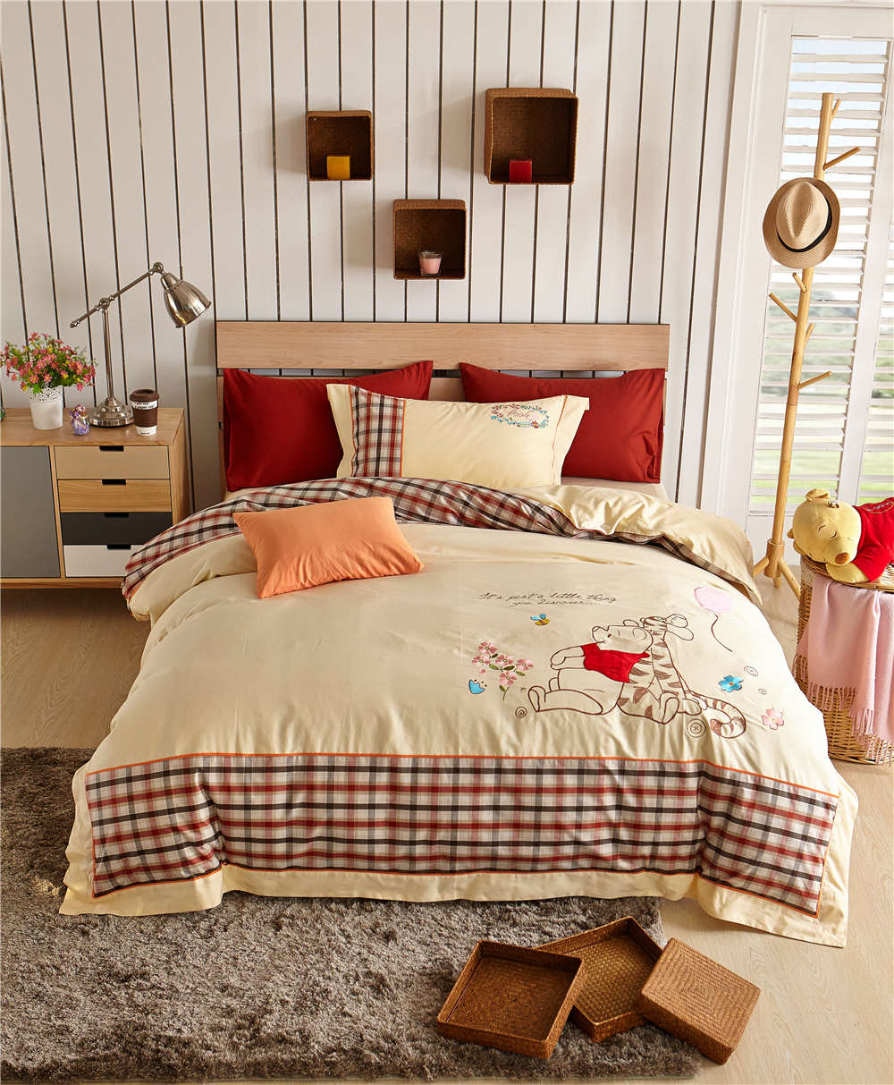 Winnie the Pooh Plaid Bedding Sets Children Bedspreads Bed Covers Sheets Applique Embroidery Cotton Woven Single Twin Full Queen