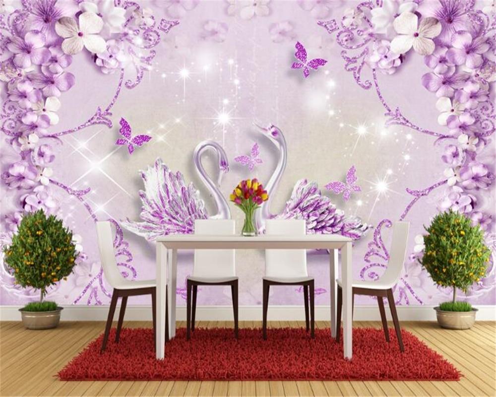 Us 885 41 Offbeibehang Interior Senior 3d Wallpaper Noble Gorgeous Purple European Style Three Dimensional Swan Tv Background Papel De Parede In