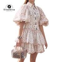Runway Dress Women Fashion High Waist A Line Mini Dress Puff Sleeve Party Dress Vestidos