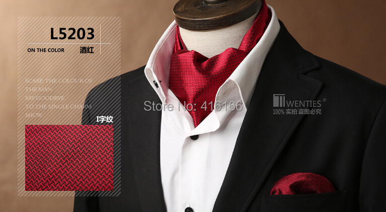 Geometric Red Ascot Cravat(Scarf )+Pocket Square 1set/lot L5203 100% Silk Paisley Jacquard Ties - Bo Shop store