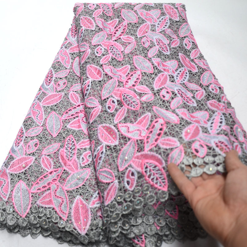 african lace fabric 2019 high quality lace Embroidery Guipure French Lace Fabric With Beaded and Stones