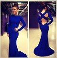 XH-194 New Arrival Blue Satin Long Sleeves Mermaid Prom Dresses 2017 Evening Gowns O-Neck Sexy Backless Vestido De Festa