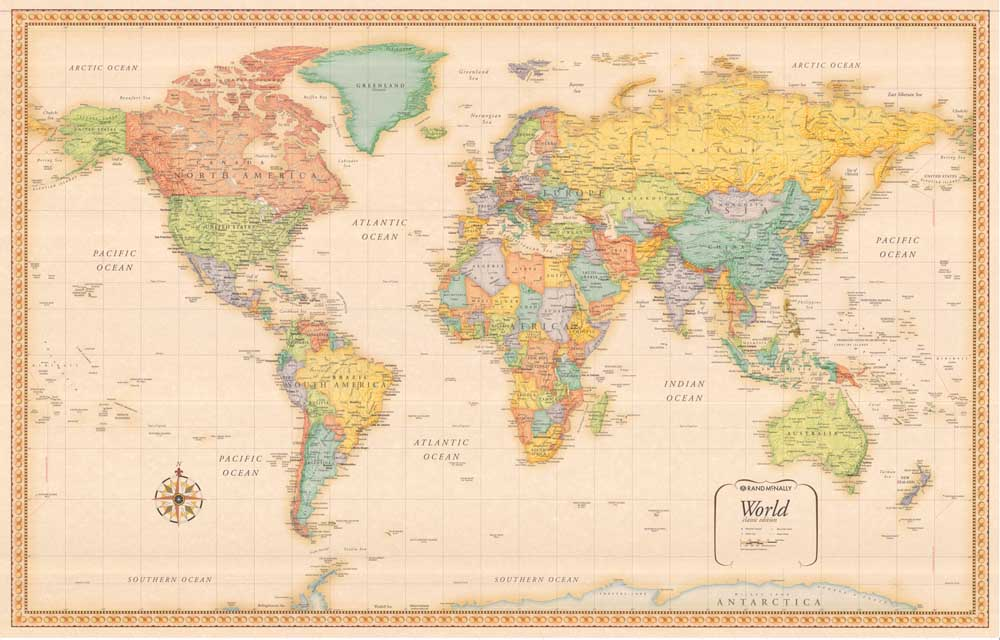 New Arrival Lk Mp 229 Vintage World Map Oil Painting Canvas Pictures