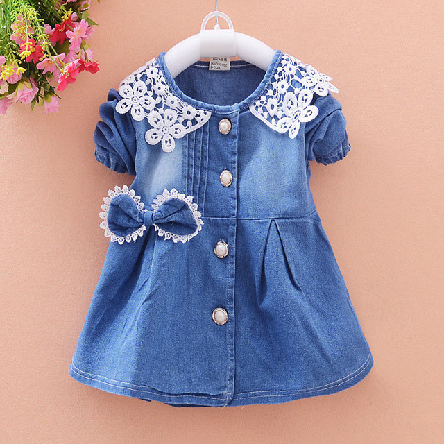 BibiCola New Spring Baby Coat Kids Jacket For Girl Toddler Denim Overcoat Children Outerwear Girls Costume For Kids Clothes