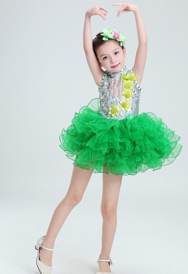 Балетное танцевальное платье с блестками для девочек; Детские вечерние платья для сальсы; платье на свадьбу; детское платье-пачка в стиле джаз - Цвет: Зеленый