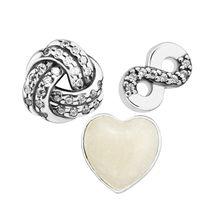 Véritable 925 argent Sterling infini amour Petites breloque s'adapte flottant médaillon pendentif collier perles pour la fabrication de bijoux kralen