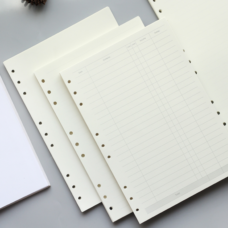 A4 B5 Leaf Notebook Refill Spiral Binder Planner Inner Page Inside Paper Dairy Weekly Monthly Plan To do Line Dot grid 45 sheets standard b5 spiral notebook inside 60 pcs quality kraft paper page 9 hole on paper loose leaf page for genuine leather notebook