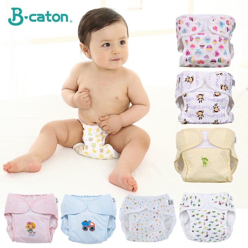 Bebê fralda de algodão pano fraldas reutilizáveis fralda calças bebê menino reutilizável à prova dadjustable água treinamento calças ajustável 0-18 meses