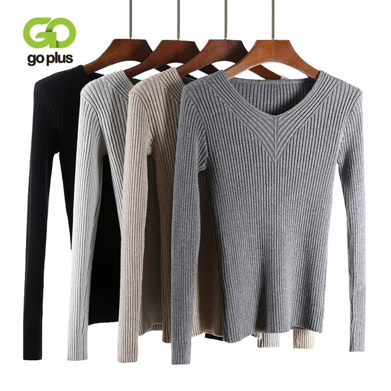 GOPLUS 2019 Fashion Spring Knitted Sweater Women Sexy V Neck Slim Warm Basic Girl Pullover Elasticity Female Top