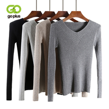 GOPLUS 2019 Fashion Spring Knitted Sweater Women Sexy V Neck Slim Warm Basic Girl Pullover Elasticity Female Top