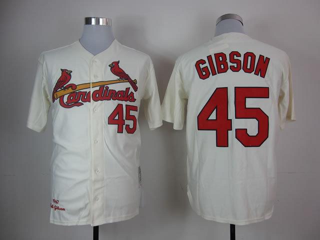 Stlouis Cardinals Baseball Jersey 45 Bob Gibson Jersey Embroidery