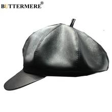 BUTTERMERE Women Newsboy Cap Pu Leather Black Octagonal Female Spring Summer Designer Brand Vintage 2019 Flat Brim Beret