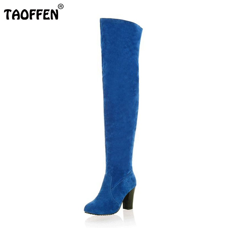 women high heel over knee boots ladies riding fashion long snow boot warm winter botas heels footwear shoes P10604 size 34-43
