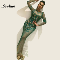 Mermaid Arabic Evening Dress Green Pattern Bling Fabric Party Dress For Middle East Women 2018 Long Sleeves Vestidos Prom Gowns