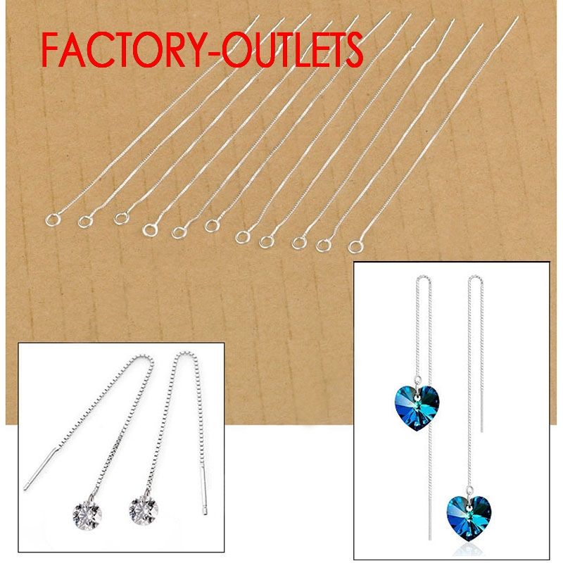 Wholesale Fast Shipping 20Pcs Lot Ear Threads DIY Crystal Fashion Jewelry 925 Sterling Silver Earrings Findings Box Chain