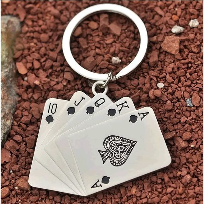 Wholesale 10pcs/lot Creative playing cards poker model Keychain Key Chain Ring Key Fob funny gift