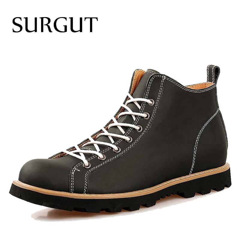 SURGUT Brand Fashion Autumn Cow Split Leather Waterproor Boots Cotton High Top Casual Shoes Men's Ankle Botas Stylish Boots