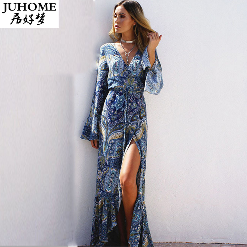 7cbec9411e0 2018 autumn Fashion Beach hippie boho dresses long sleeve flower maxi v  neck sexy plus size