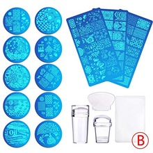 Biutee 13Pcs Flower Forest Image Nail Plates + 2 Stamper Scraper Sets