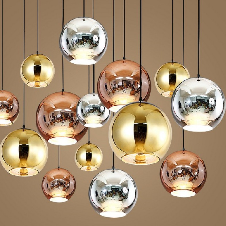 Modern Copper/Sliver/Gold glass ball lamp Shade Inside Mirror pendant Light E27 Bulb LED indoor Home Pendant Lamp brass cone shade pendant light edison bulb led vintage copper shade lighting fixture brass pendant lamp d240mm diameter ceiling