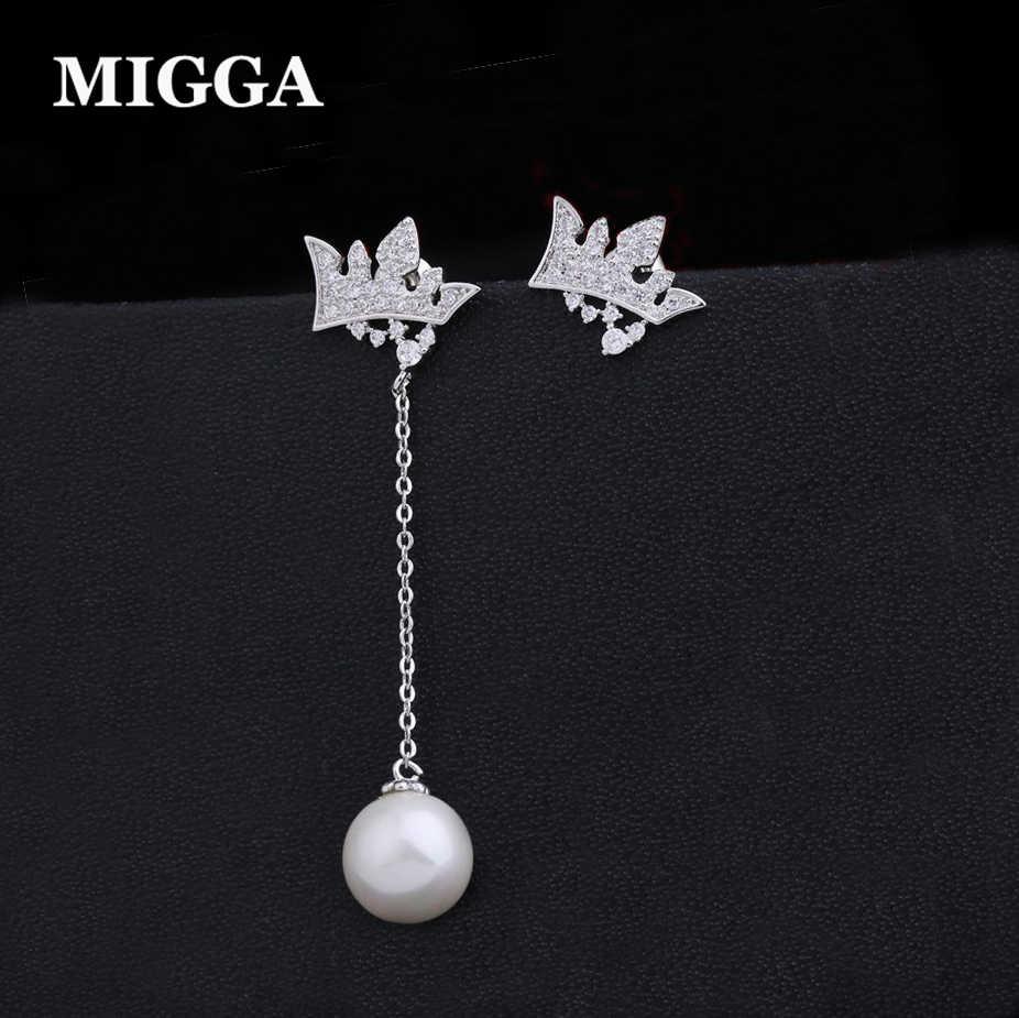 MIGGA unique simulé perle longue gland Zircon couronne boucles d'oreilles couleur or blanc femmes filles boucles d'oreilles