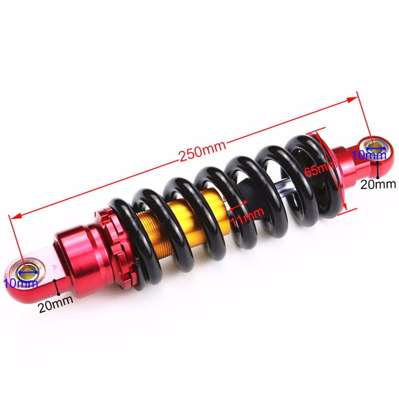TDPRO 250mm Moto Motorcycle Rear Shock Absorber Suspension Spring ATV QUAD Dirt Pit Bike SDG SSR Taotao Coolster 110cc 125cc in Falling Protection from Automobiles Motorcycles