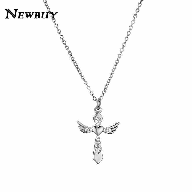 NEWBUY 45cm miedzi Link naszyjnik łańcuch dla kobiet mężczyzn klasyczny krzyż wisiorek naszyjnik z cyrkoniami Christian modlitwa biżuteria Dropship