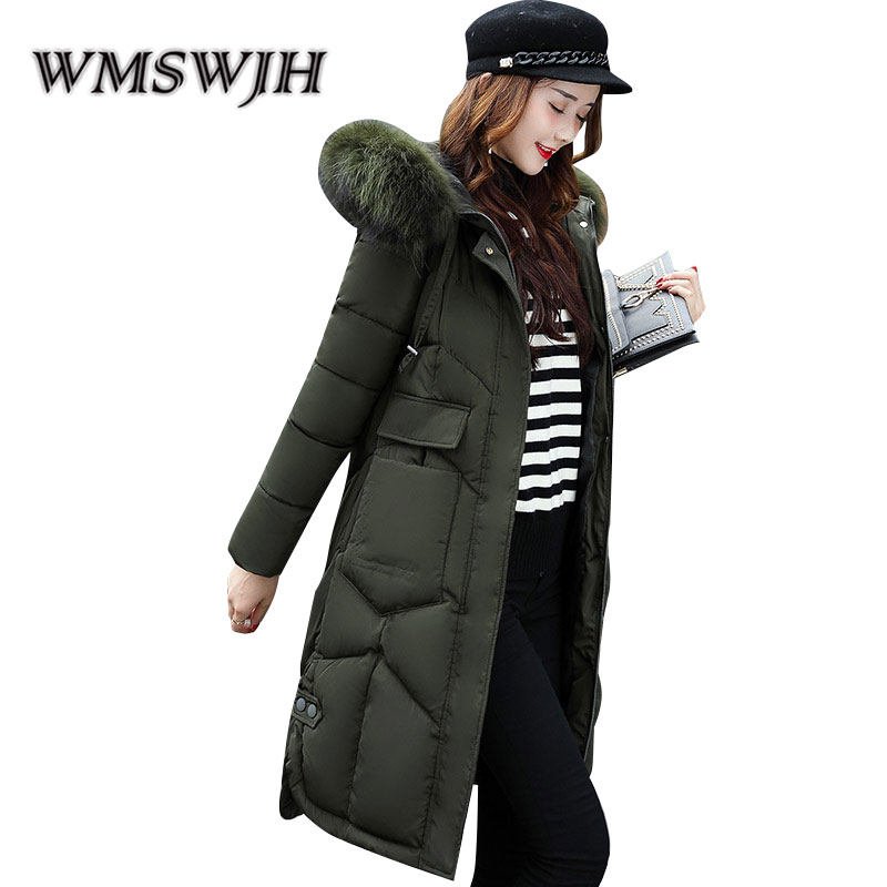 Winter Fashion Cotton Coat New Women Mid Long Section Thick Cotton Jacket Loose Large Fur Collar Down Feather Cotton Clothes winter feather cotton women outwear long section thick section slim hooded coats large fur collar large size down jacket lx165